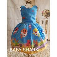 Vestido  Baby Shark  Azul Temático Luxo Infantil Festa
