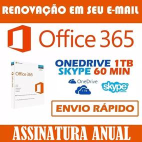 Office 365 + Onedrive 1tb(1000gb) + Skype 60m - 1 Ano