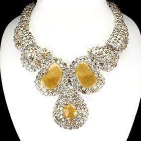 Collar De Zafiros Amarillos Y Zircon Naturales 705 Ct