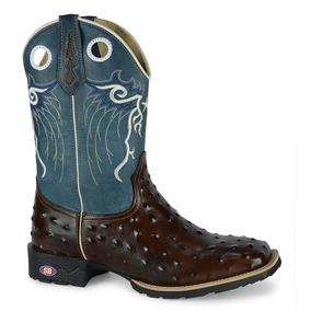 Bota Texana Barata Cowboy Avestruz Bico Quadrado Rodeio