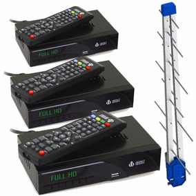 Kit 3 Conversores Tv Digital Hdmi 1080p + Antena Externa Uhf