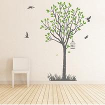 Hermoso Vinilo Decorativo Árbol Y Pájaros