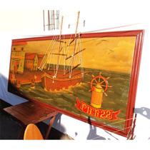Antiguidade Grande Painel Pintura Em Madeira