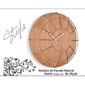 Relógio De Parede Cage Madeira/metal Natural - Produto Novo