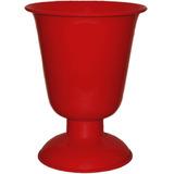 Vaso Tulipa Pequeno Alumínio 18x14cm Mesa Arranjo Vermelho
