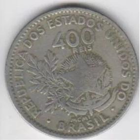 Moeda 400 Réis Ano 1901 Mcmi Mbc, Raras Preço Unid. (5168)