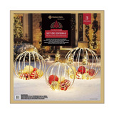 Adorno Navidad 3 Esferas Metálicas Exterior 1056 Luces Led