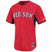 Jersey Majestic Oficial De Practica Boston Red Sox Casa