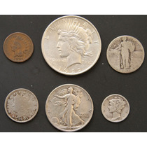 Monedas Eeuu 1901 Indio Bufalo Plata Cobre Antigua Lote K6n