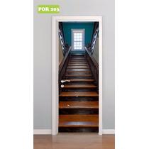 Adesivo Decorativo Porta Escada Escadaria De Madeira Mod 203