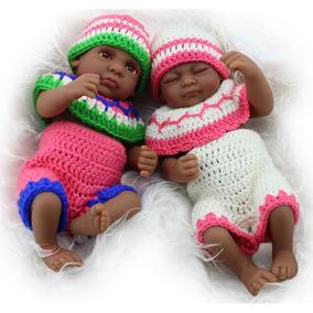 Casal Gêmeos Mini Bebês Negros Reborn Realista - Promoção