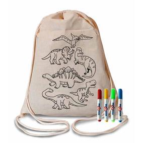 Mochila Dinossauros Para Colorir Com 4 Canetinhas