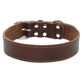 Brown-l:18-25 -pit Bull Cuero Collar De Perro Grande Ll-3257