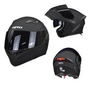 Casco Para Moto Abatible Hro 3400dv Negro Mate Con Luz Stop