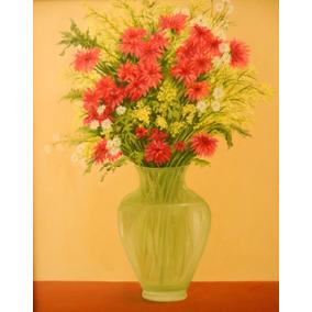 Obra Pictórica: Técnica Acrílico, Tema: Jarrón Con Flores