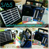 Radio Panel Solar Bluetooh+linterna Led, Sincroniza Celular