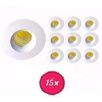 Kit 15 Mini Spot Embutir Teto Led Redondo Cob 3w Quente