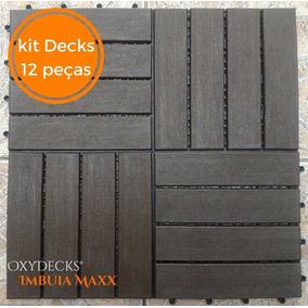 Kit Com 12 Decks De Madeira Plastica Modular 30x30 - Imbuia