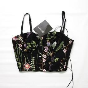 Top Elegante Con Puntilla De Flores Nuevo Ona Saez- Envios