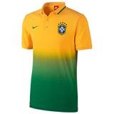 Camiseta Tipo Polo Brasil Amarilla/verde Nike