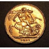 Moneda 1 Libra Esterlina 1911 - 8 Gramos Oro 22k Soberano