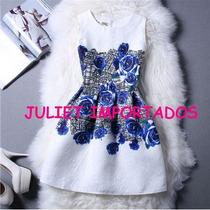 Vestido Infantil Menina Branco E Azul Importado 8 - 9 Anos