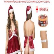 Kit Fantasia Vestido Mamãe Noel Para O Natal Sexys Adulta