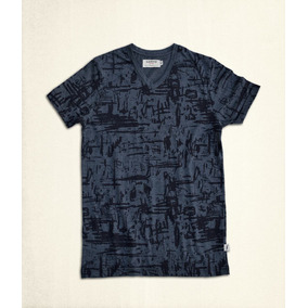 T-shirt Marino Jaspe Estampado Graffiti