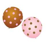 Balão Art-latex Nº9 Poá Rosa E Marrom - Bexiga Bolinha 50u