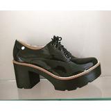 Sapato Feminino Oxford Salto Tratorado Preto Verniz Novo