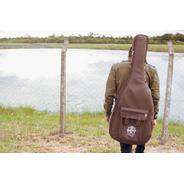 Bag Couro Violão Folk Luxo 91 Guitars 5ª Geração + Caneca