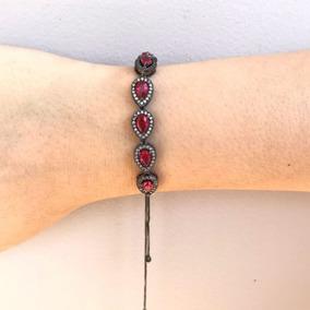 Pulseira Feminina Cristal Rubi Vermelha Rodio Negro