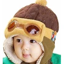 Touca Gorro Aviador Piloto Babê Infantil Criança Boné Luxo