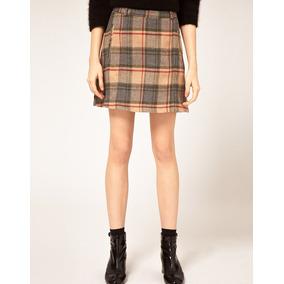Mini Falda Escocesa Beige Vero Moda Lana Envio Gratis
