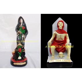 Estatua Exu Tata Pombagira Rosa Caveira Imagem 20c Estatua