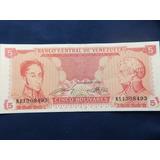 Billete De 5 Bolivares 1989 Unc