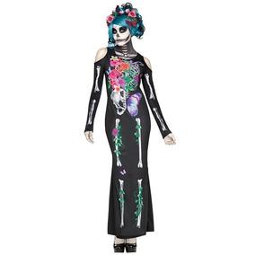 Disfraz Esqueleto Sexy Mujer Halloween Calavera Catrina Mod3