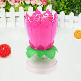 Vela Flor Pastel De Cumpleaños Giratoria Musical Fiesta Rosa