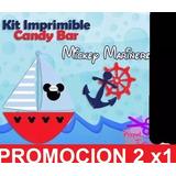 Kit Imprimible Candy Bar Mickey Marinero - Nautico 2x1