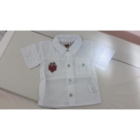 Blusa Branca De Botão Bebê Menino Tamanho P