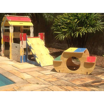 Kit Infantil Casa +mesa+ Escorregador Desmontável De Madeira