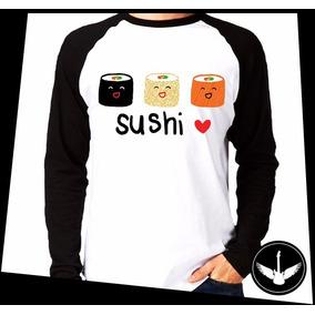 Manga Longa Sushi Comida Japonesa Blusa Camisa Tumblr Girl