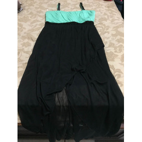 Vestido De Fiesta Color Verde Claro Con Negro