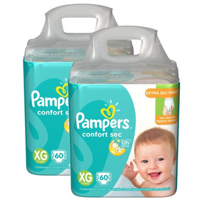 Kit Fralda Pampers Confort Sec Super Tam Xg 120 Unidades.