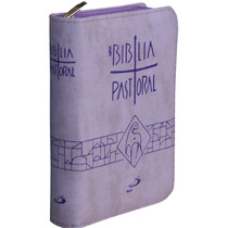 Biblia Sagrada Católica Pastoral Nova Zíper Ed Bolso Lilas