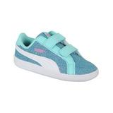 Zapato Puma Casual Smash Glitz Glamm Bebé- Azul / Blanco