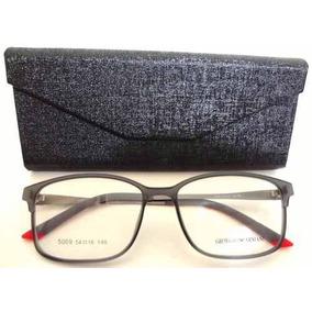 Armação Óculos Grau Ea5009 Cinza E Vermelho Unissex+ Case