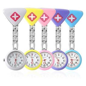 Relógio Lapela Aço Inox Enfermeira Jaleco Broche Triangle
