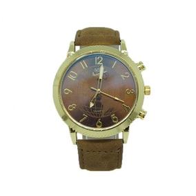 Relógio Nike Dourado Com Pulseira De Couro Caramelo