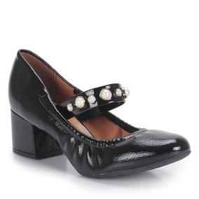 Sapato Boneca Salto Feminino Vizzano - Preto